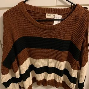 Cropped camel and black striped sweater